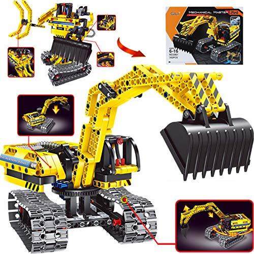 Gili Excavator Building Sets for 7, 8, 9, 10 Year Old Boys & Girls, Construction Engineering Robot Toys for Kids Age 6-12, Educational STEM for Kids