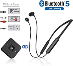 Bluetooth Headphones Transmitter for TV Watching, Golvery Neckband Wireless Stereo Earphones Earbuds Set w/Transmitter Adapter for Optical Digital, RCA, 3.5mm Aux TVs, Plug n Play, No Audio Delay