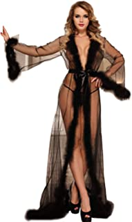 Lingerie for Women Lace Kimono Robe Long Lace Dress Sheer Gown Mesh Chemise