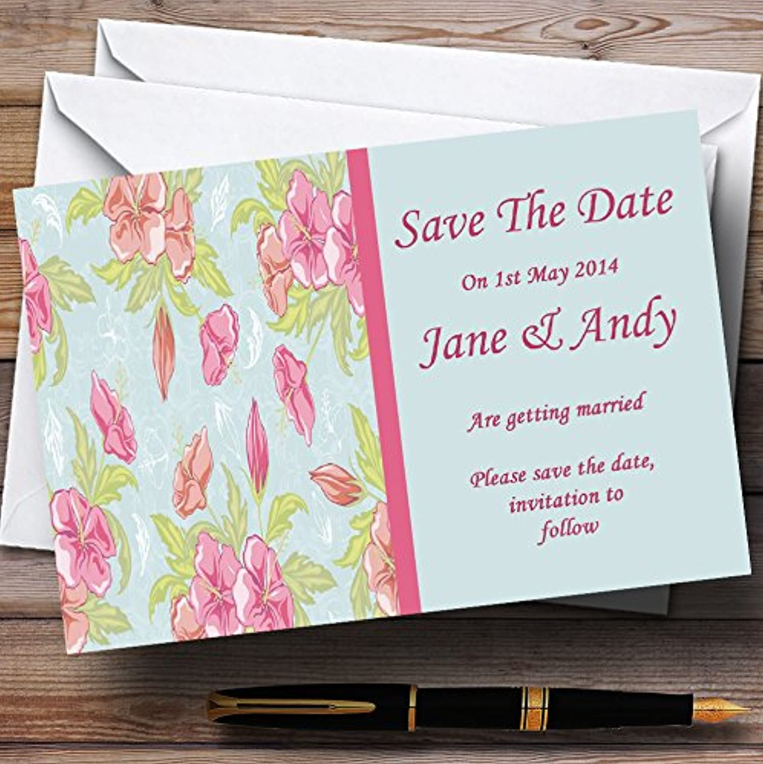Pale bluee Pink Vintage Personalised Wedding Stationery Save The Date Cards