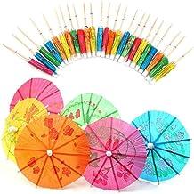 Yililay Cocktail paraplu's, 50 stuks cocktailaccessoires gemengd papier cocktail paraplu's parasols voor party tropische d...