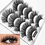 outopen 3D Mink False Eyelashes Full Strips Thick Cross Long Lashes Wispy Fluffy Eye Makeup Tools 5 Pairs (Q1)