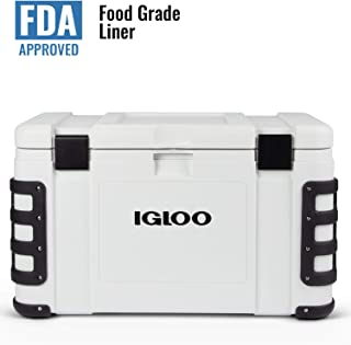 Igloo Leeward 72 Quart Cooler with Cutting Board, Fish Ruler, and Tie-Down Points - Marine-Grade Ice Chest - White