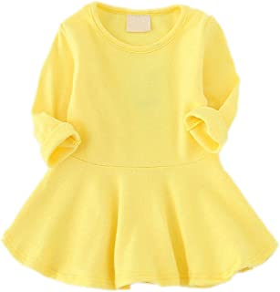 GSVIBK Baby Girls Cotton Dress Toddler Solid Dresses Girl Casual Ruffle Dresses Long Sleeve Infant Playwear Dress