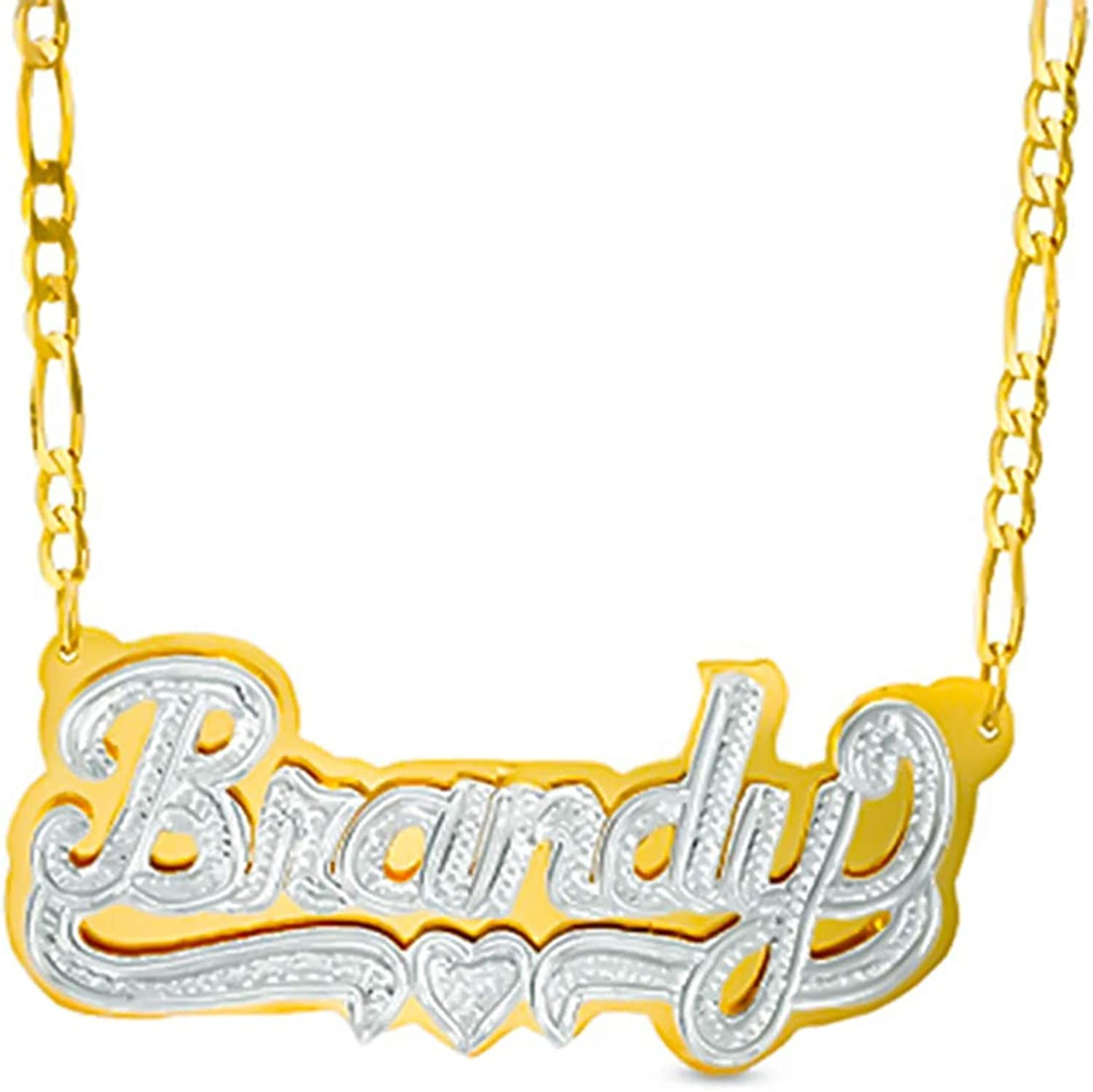 Double Plated Nameplate Necklace Women Custom Heart Personalized Necklace 18K Gold Two Tone Necklace for Girls…