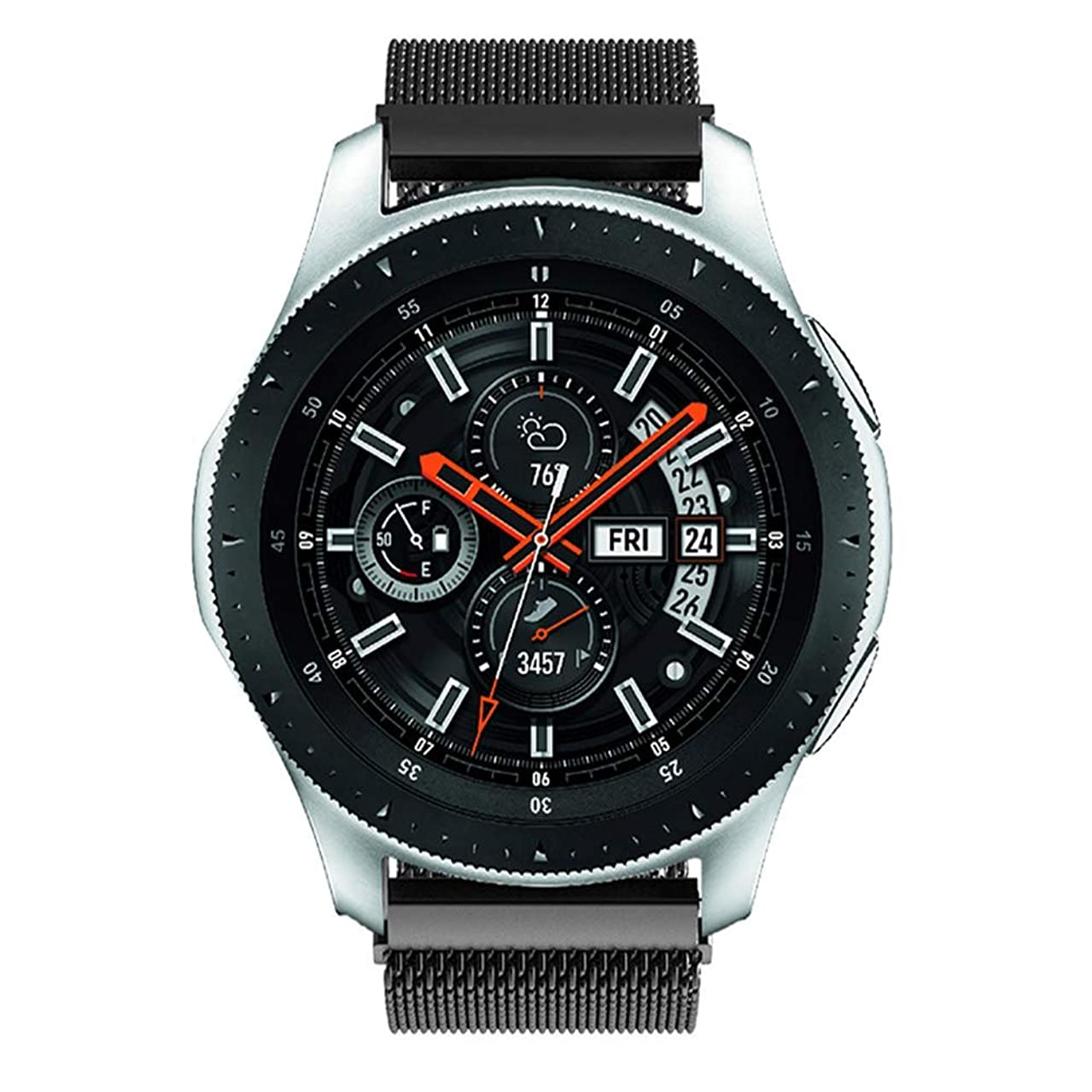 Galaxy Watch 46mm Bands, Gear S3 Bands, Wingle 22mm Universal Replacement Strap w/Quick Release Pin Magnetic Closure Compatible for TicWatch Pro/Huawei Watch GT Classic Smartwatch- Space Black