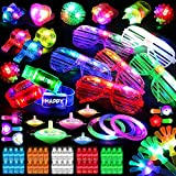 82PCs LED Light Up Toy Bulk Party Favors, Glow in The Dark Party Supplies for Boy Girl with 50 Finger Light,6 Jelly Ring, 6 Glasses,5 Spinning Top, 3 Bracelet,3 Hairpin, 3 Whistle, 3 Hand Clap,3 Watch