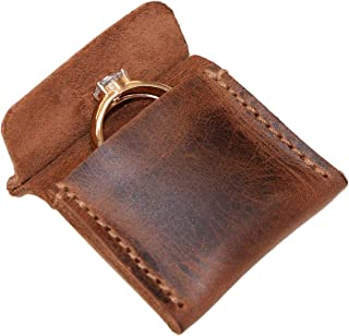 Hide & Drink, Leather Wedding Ring Case, Bride & Groom Engagement Pouch, Marriage Travel, Handmade Includes 101 Year Warranty :: Bourbon Brown