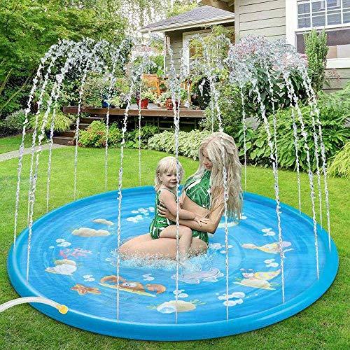 Sprinkler Spelen Toy Mat Kids Round Water Splash Play Pool 170cm Spelen Sprinkler Mat Yard Outdoor Fun Zwembaden Blue-68 inches