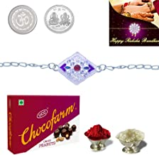 DeoDap Silver Colour/Plated Rakhi Combo with Chocolate