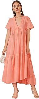 Shein Women's V-Neck Ruffle Hem Dress Summer Loose Short Sleeve A Line Dresses