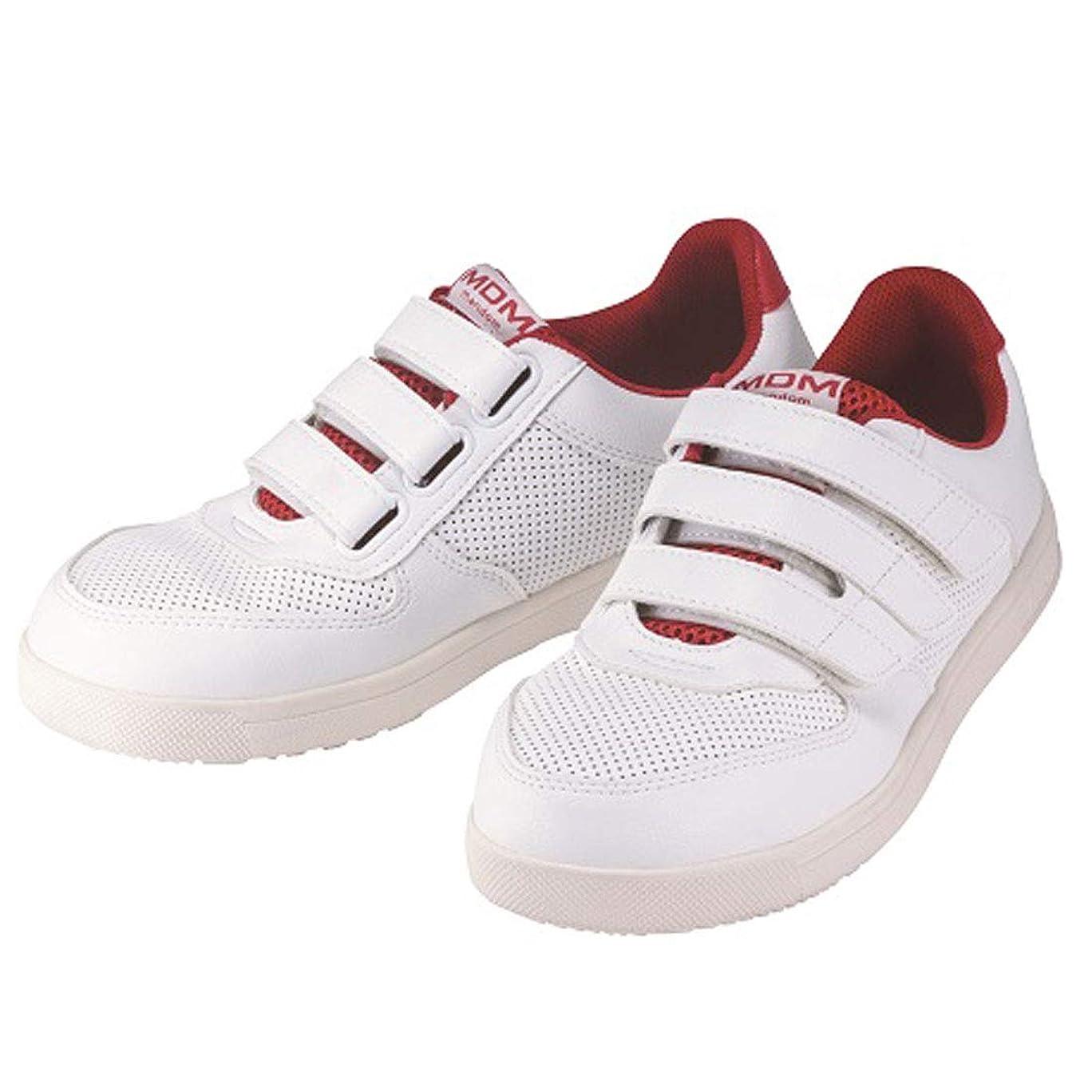クリーナーメーター恐竜安全靴 スニーカー MDM-010 作業靴 マルゴ 安全シューズ 鋼製先芯 コートタイプ マジックテープ 白 ホワイト 工場 耐油 滑りにくい 3E 幅広 男性 メンズ 女性 レディース 靴 シューズ