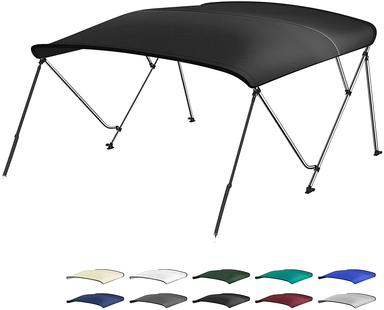 XGEAR 3-4 Bow Bimini Top Boat Cover Mou 人気上昇中 with Rear Support Poles お得クーポン発行中