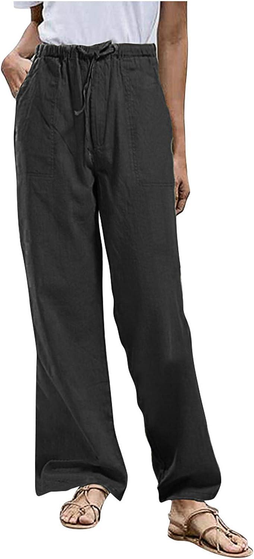 Beshion Womens Loose Yoga Pants Cotton Linen High Waist Sports Pants Wide Leg Drawstring Elastic Waist Capris Crop Pants