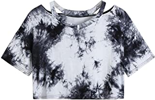 Women's Tie Dye Blouse Short Sleeve Casual Crop Tee Shirts Tops