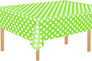 """TONIFUL 3 Pack Fruit Green Polka Dot Plastic Tablecloth 54""""x108"""" Inch Polka Dot Rectangle Table Cover for Picnic Party Holiday Dinner"""