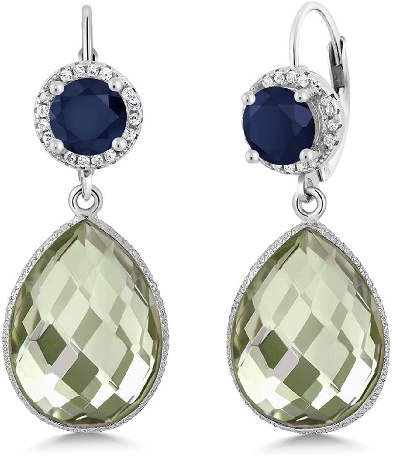 2.00 Ct Round bluee Sapphire Pear Amethyst 925 Sterling Silver Earrings