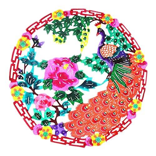 Black Temptation 4PCS Chinese Traditional Art Paper Cut Décor Collection colorée Souvenir-A07