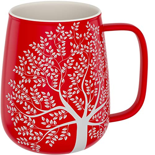 amapodo Kaffeetasse groß aus Porzellan mit Henkel 600ml Keramiktasse Büro Rot Geschenke für Frauen Männer