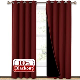 NICETOWN 100% Blackout Curtains with Black Liner Backing, Thermal Insulated Curtains for Living Room, Noise Reducing Drapes for Christmas, Burgundy Red, 52 inches x 84 inches Per Panel, Set of 2