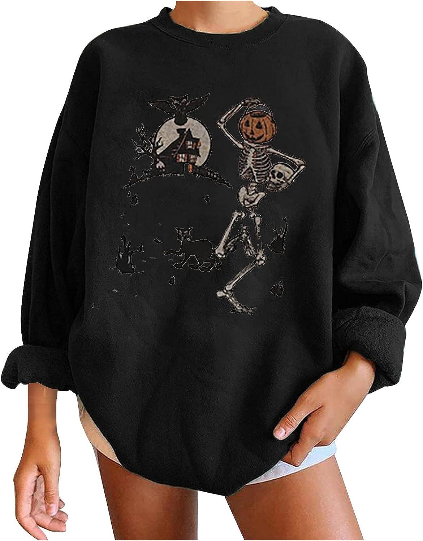 Women's Halloween Sweater Long Sleeve Sweater O-Neck Sweatshirts Skeleton Sweater Happy Halloween Party Fun Costume
