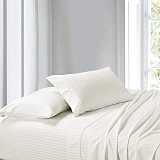 Exquisitely Lavish Sateen Stripe Weave Bedding by Pure Linens, 300 Thread Count 100-Percent Plush Cotton, 2 Piece King Size Hemmed Pillowcase Set, Ivory