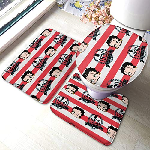 Betty Boop Bathroom Mats 3 Piece Bathroom Rugs,Anti-Skid Toilet Mat Set Bath Mat Contour Rug Lid Cover