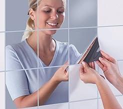 ملصقات حائط مرايا مربعة بشكل القرميد ثلاثية الابعاد ترتب بشكل فسيفسائي لتزيين المنازل، 16 قطعة