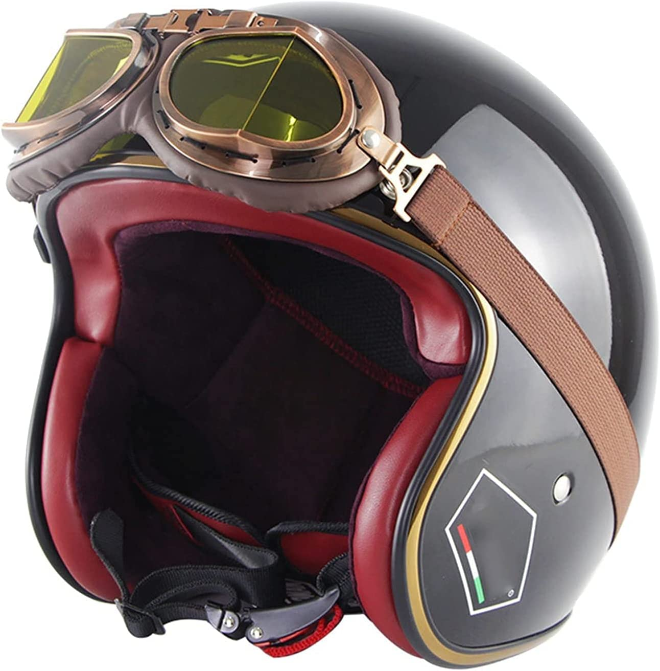 TYYCKJ Branded goods Touring Motorcycle Half O Save money Vintage Motorbike Helmet
