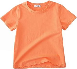 KISBINI Girls Short Sleeve T-Shirt Cotton Top Tees Unisex Toddler Girls and Boys Basic Solid Tee