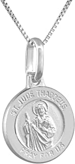 Dainty Sterling Silver St Jude Medal Necklace 1/2 inch Round Italy 0.8mm Chain