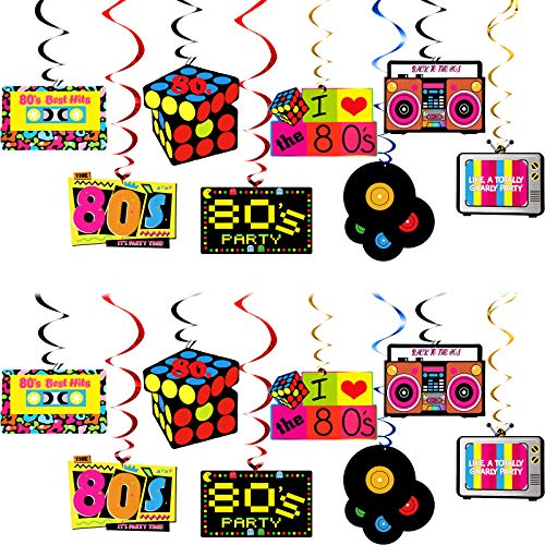 80s Party Decorations Kit. 30 colourful and attractive hanging swirl decorations with cassette, Rubik's cube, ghettoblaster, vinyl and TV themes.