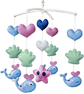 Jouet de décoration de lit bébé Mobile musical musical pour berceau fait main en tissu non tissé Baleine A