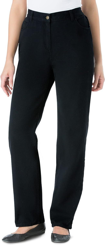Woman Within Women's Plus Size Tall Back-Elastic Straight Leg Cotton Jean