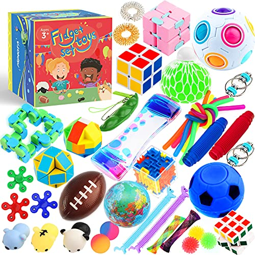 Sensory Toys Set 38 Pack, Stress Relief Fidget Hand Toys for Adults and Kids, Sensory Fidget and...