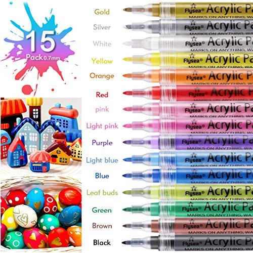 Acrylstifte Marker Stifte 15 Farben Wasserfeste und auf wässriger Basis mit 0,7 mm,Acrylfarben Marker Set für Stein, Stoff, Holz, Glas, Keramik, DIY Fotoalbum, Osterei [Schnelltrocknen]