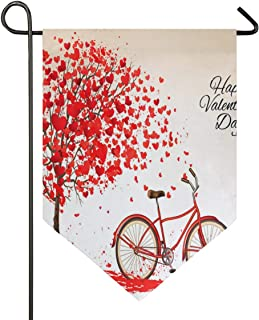 IDO Sweet Home Garden Flag Vertical Double Sided Spring Summer Fantastic Bicycle and Tree Made of HeartOutdoor Yard Flags Decorative 12x18.5 in