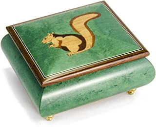 Forest Green Adorable Squirrel Wood Inlay 18 Note Musical Jewelry Box - Over 400 Song Choices - Feliz Navidad