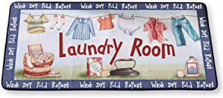 Colorful Washday Wash, Dry, Fold, Repeat Laundry Novelty Mat, Blue