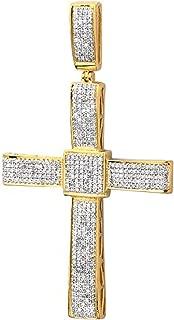 1.00 Carat (ctw) Round Diamond Micro Pave Setting Men's Religious Cross Pendant 1 CT