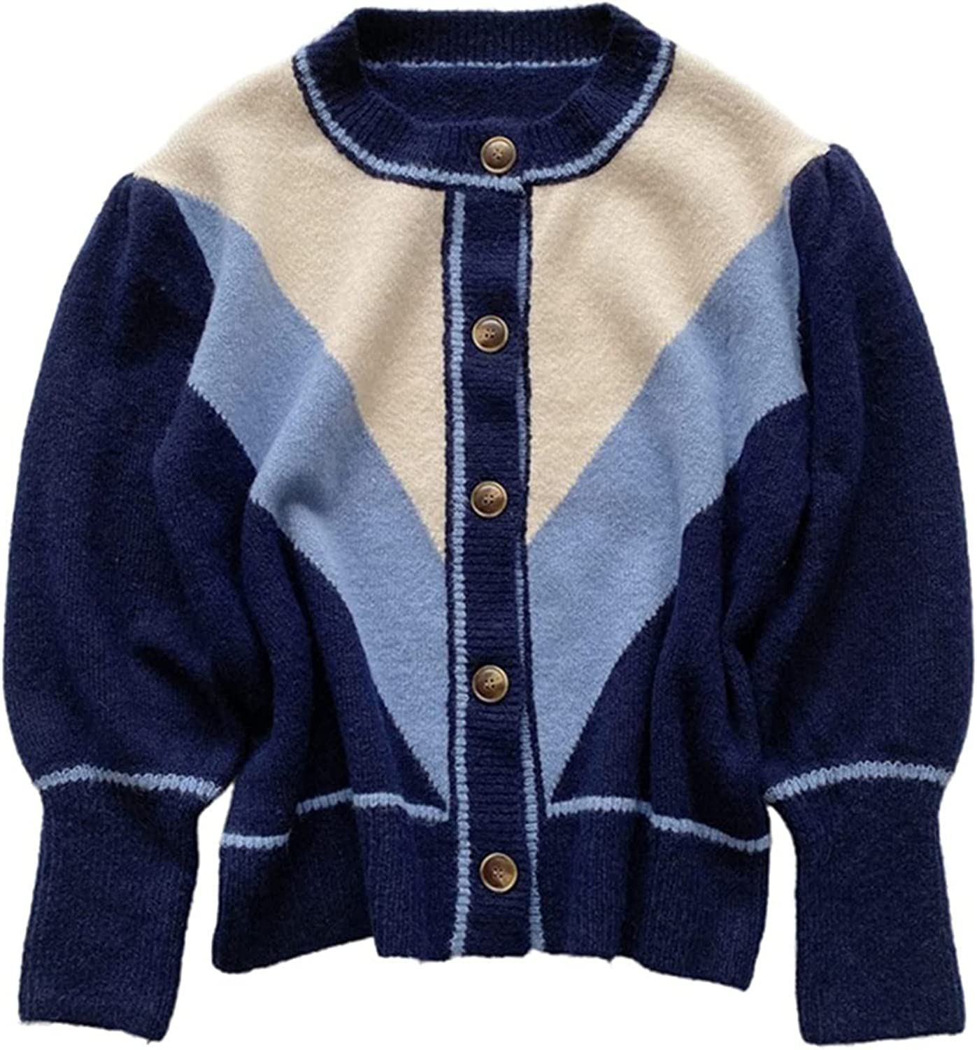 Yimoon Women's Vintage Contrast Color Sacramento Mall Cardigan Sweat Down Button Ranking TOP12