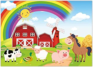 Funnytree Farm Party Backdrop Animal Rainbow Red Barn Yard Birthday Banner Baby Shower Girl Boy Bday Decoration Supplies F...