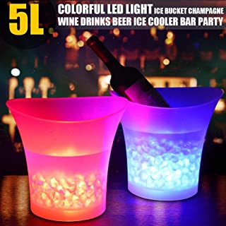 Volwco Ice Bucket Colours Changing LED Cooler Bucket 5L Large Capacity Champagne Wine Drinks Beer Bucket for KTV Party Bar Home Wedding