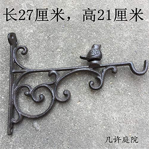 WANDOM Blanco retro angustiado pájaro gran gancho de hierro fundido de hierro forjado cesta colgante/campanilla de viento gancho decorativo-pájaro gancho