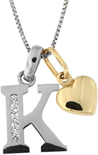 14k White Gold Cubic Zirconia Initial Pendant with Yellow Gold Heart Charm Necklace