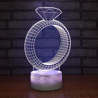 3D Night Light Creative Diamond Ring Shape 3D Illusion Led Table Lamp Acylic USB Color Change 3D Night Light Wedding Decorations