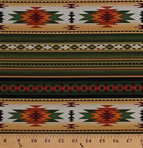 Cotton Southwestern Stripes Native American Aztec Tribal Southwest Tucson Green Cotton Fabric Print by The Yard (201GREEN)