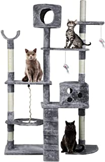 Ultimate Cat Tree Cat Tower Scratching Post Cat Scratcher Cat Toy,High Quality Plush Sisal Wooven Post -Grey & Beige,176CM