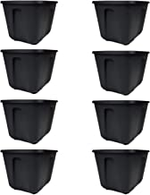 Mainstay Storage Totes Easy to Transport, 18 gal, Black, Set of 8