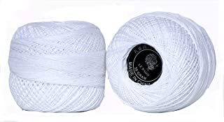 LE PAON White 50g SIZE8 Pearl Double-Mercerized Cotton Crochet Thread in Balls,Colorful Knitting Yarn Balls Great for Hardanger Friendship Bracelets Total 1000yards 2 Balls (Color No.5200
